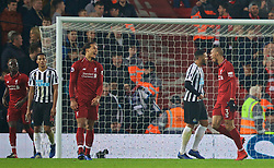 LIVERPOOL, ENGLAND - Boxing Day, Wednesday, December 26, 2018: Liverpool's Fabio Henrique Tavares 'Fabinho' celebrates scoring the fourth goal during the FA Premier League match between Liverpool FC and Newcastle United FC at Anfield. (Pic by David Rawcliffe/Propaganda)
