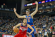 Washington Wizards Tomas Satoransky (31) and New York Knicks Luke Kornet (2) during the NBA London Game match between Washington Wizards and New York Knicks at the O2 Arena, London, United Kingdom on 17 January 2019.