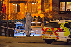 ©Licensed to London News Pictures 25/07/2020     <br /> Chislehurst, UK. Forensic officer outside the Gordon Arms pub. Police have cordoned off the Gordon Arms pub in Chislehurst, South East London after reports of two men being stabbed. Forensic officers are at the scene. Police were called at 20:52hrs on 24.07.20. Photo credit: Grant Falvey/LNP