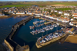 Aerial view from drone of Anstruther in the East Neuk of Fife, Scotland, UK