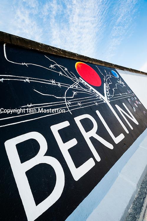 Mural painted on wall at East Side Gallery at former Berlin Wall in Friedrichshain/Kreuzberg in Berlin Germany