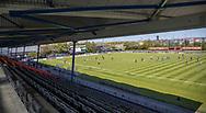FODBOLD: Et kig fra tribunen før kampen i 2. Division mellem BK Frem og Slagelse B&I den 11. maj 2019 i Valby Idrætspark. Foto: Claus Birch