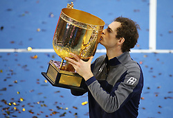 October 9, 2016 - Beijing, China - ANDY MURRAY kisses his champion trophy during the men's singles final award ceremony at the China Open tennis tournament. Murray defeated G. Dimitrov of Bulgaria 2-0. (Credit Image: © Xing Guangli/Xinhua via ZUMA Wire)