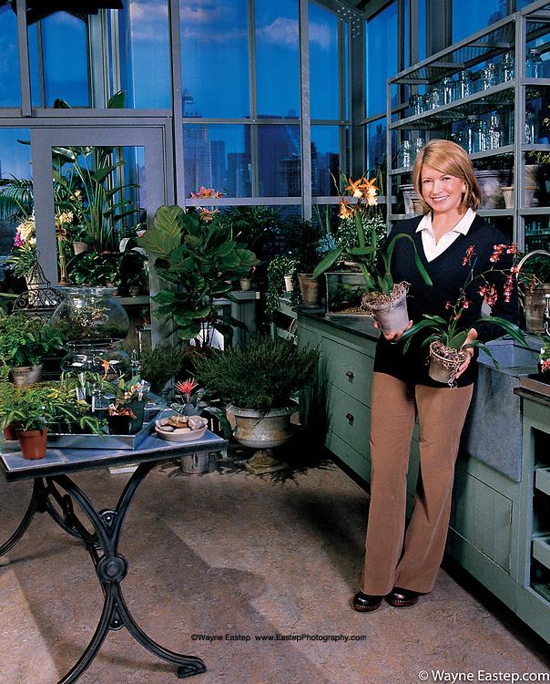 Martha Stewart in Greenhouse, NYC.