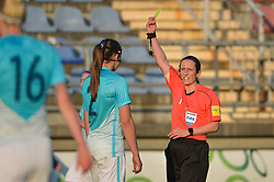 Lana Golob of Slovenia take yellow card during women football match between National teams of Slovenia and Iceland in 2019 FIFA Women's World Cup qualification, on April 06, 2018 in Sportni park Lendava, Lendava, Slovenia. Photo by Mario Horvat / Sportida