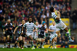London Irish Number 8 (#8) Chris Hala'Ufia takes a high ball during the first half of the match - Photo mandatory by-line: Rogan Thomson/JMP - Tel: Mobile: 07966 386802 29/12/2012 - SPORT - RUGBY - Twickenham Stadium - London. Harlequins v London Irish - Aviva Premiership - LV= Big Game 5.