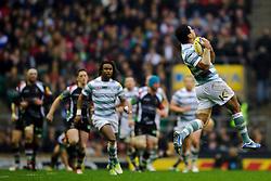 London Irish Number 8 (#8) Chris Hala'Ufia takes a high ball during the first half of the match - Photo mandatory by-line: Rogan Thomson/JMP - Tel: Mobile: 07966 386802 29/12/2012 - SPORT - RUGBY - Twickenham Stadium - London. Harlequins v London Irish - Aviva Premiership - LV= Big Game 5.