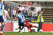 Wycombe Wanderers defender Joe Jacobson (3) scores a goal from the penalty spot  1-0 during the EFL Sky Bet League 1 match between Wycombe Wanderers and Milton Keynes Dons at Adams Park, High Wycombe, England on 17 August 2019.