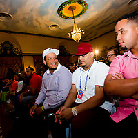 Miguel Cabrera, left to right, Brayan Pena, and Jose Abreu listen in during a press conference at the Hotel Nacional de Cuba as MLB players make a goodwill trip to Havana, Cuba. (Photo by Chip Litherland/The Players' Tribune)