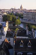 France. Paris. Elevated view on the Seine river The pantheon and the Seine river quay and city island  / paris vue aerienne de la rive gauche