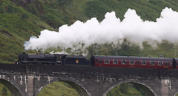 "Also known as the ""Hogwarts Express"" the Jacobite steam train operates between Fort William and Mallaig on what is often described as the greatest railway journey in the world. Here the Jacobite steam train is seen crossing the Glenfinnan viaduct.  (c) Stephen Lawson 