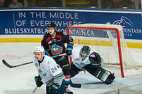 KELOWNA, CANADA - OCTOBER 10: Ryan Bowen #17 of the Kelowna Rockets looks for the pass ahead of goalie Liam Hughes #30 of the Seattle Thunderbirds on October 10, 2018 at Prospera Place in Kelowna, British Columbia, Canada.  (Photo by Marissa Baecker/Shoot the Breeze)  *** Local Caption ***