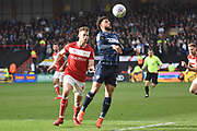 Leeds United forward Tyler Roberts (11)  holds up the ball during the EFL Sky Bet Championship match between Bristol City and Leeds United at Ashton Gate, Bristol, England on 9 March 2019.