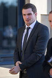 © Licensed to London News Pictures. 18/02/2016. Bradford UK. Adam Johnson arrives at Bradford Crown Court today. The former Sunderland player has pleaded guilty to one count of grooming & one count of sexual activity with a child, but denies two further charges relating to a 15 year old girl. Photo credit: Andrew McCaren/LNP