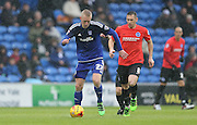 Cardiff City striker, Lex Immers (27) gets away from Brighton central midfielder, Andrew Crofts (8) during the Sky Bet Championship match between Cardiff City and Brighton and Hove Albion at the Cardiff City Stadium, Cardiff, Wales on 20 February 2016.