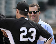 CHICAGO - JUNE 29:  White Sox general manager Rick Hahn speaks with manager Robin Ventura #23 of the Chicago White Sox during batting practice prior to the game against the Minnesota Twins on June 29, 2016 at U.S. Cellular Field in Chicago, Illinois.  (Photo by Ron Vesely) Subject:    Rick Hahn; Robin Ventura