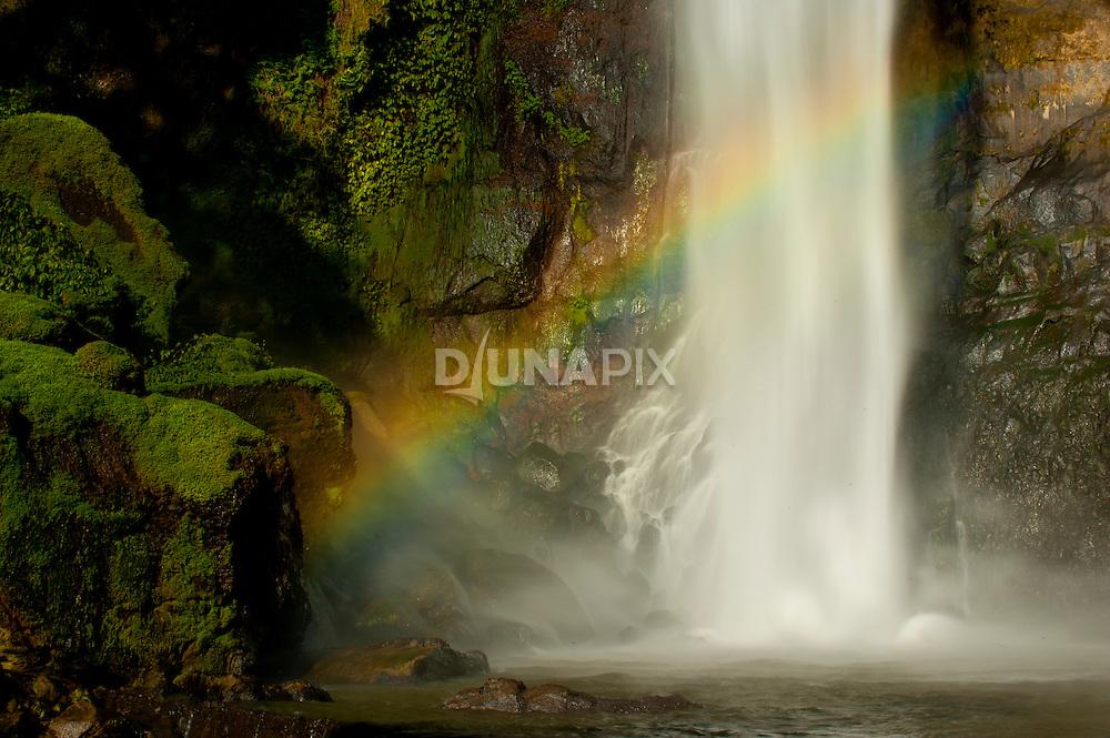 Detail of Ogi Waterfall and rainbow, near Bajawa, Flores