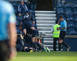 Falkirk players  cele Kris Faulds scoring their goal. Raith Rovers 1 v 1 Falkirk, Scottish Championship 28/9/2013.<br /> &copy;Michael Schofield.
