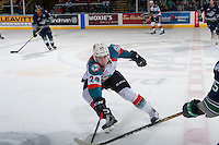 KELOWNA, CANADA - FEBRUARY 13: Kyle Topping #24 of the Kelowna Rockets stick checks against the Seattle Thunderbirds on February 13, 2017 at Prospera Place in Kelowna, British Columbia, Canada.  (Photo by Marissa Baecker/Shoot the Breeze)  *** Local Caption ***