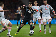 Giovani Lo Celso of Argentina and Sergio Ramos of Spain during the International friendly game football match between Spain and Argentina on march 27, 2018 at Wanda Metropolitano Stadium in Madrid, Spain - Photo Rudy / Spain ProSportsImages / DPPI / ProSportsImages / DPPI