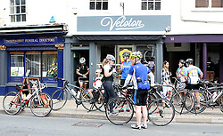 Cyclists take a break at The Veloton Cafe during the 111 mile cycling challenge organised by the Community Foundations of Bristol and Gloucester Rugby - Mandatory by-line: Robbie Stephenson/JMP - 03/07/2016 - CYCLING - Bannerdown - Bath, United Kingdom - Break The Cycle Challenge 2016