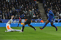 Football - 2017 / 2018 FA Cup - Quarter-Final: Leicester City vs. Tottenham Hotspur<br /> <br /> Alvaro Morata of Chelsea scores his first half goal past Kasper Schmeichel, at King Power Stadium.<br /> <br /> COLORSPORT/ANDREW COWIE