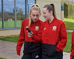 CARDIFF, WALES - Thursday, April 4, 2019: Wales' Charlie Estcourt (L) and Anna Filbey during a pre-match team walk at the Vale Resort ahead of an International Friendly match between Wales and Czech Republic at Rodney Parade. (Pic by David Rawcliffe/Propaganda)