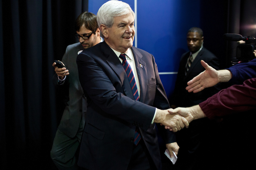 Republican presidential candidate Newt Gingrich holds a campaign rally aboard the USS Yorktown on Friday, January 20, 2012 in Charleston, SC.