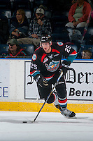 KELOWNA, CANADA - OCTOBER 26: Cal Foote #25 of the Kelowna Rockets skates with the puck against the Victoria Royals on October 26, 2016 at Prospera Place in Kelowna, British Columbia, Canada.  (Photo by Marissa Baecker/Shoot the Breeze)  *** Local Caption ***