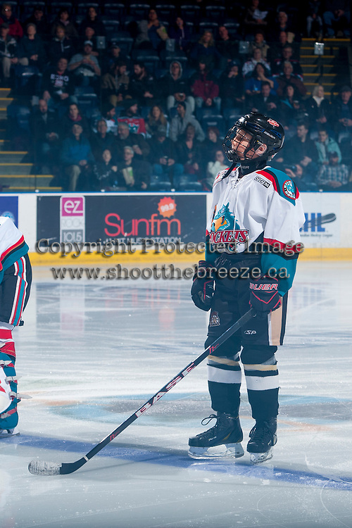 KELOWNA, CANADA - FEBRUARY 18: The pepsi player lines up on the blue line on February 18, 2017 at Prospera Place in Kelowna, British Columbia, Canada.  (Photo by Marissa Baecker/Shoot the Breeze)  *** Local Caption ***