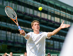 LONDON, ENGLAND - Saturday, June 27, 2009: Lewis Burton (GBR) during the Boys' Singles 1st Round match on day six of the Wimbledon Lawn Tennis Championships at the All England Lawn Tennis and Croquet Club. (Pic by David Rawcliffe/Propaganda)