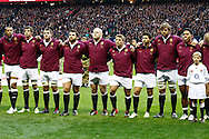 Picture by Andrew Tobin/SLIK images +44 7710 761829. 2nd December 2012. England line up for the National Anthem during the QBE Internationals match between England and the New Zealand All Blacks at Twickenham Stadium, London, England. England won the game 38-21.