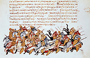 Byzantine cavalrymen overwhelming enemy cavalry and footsoldiers. Illustrated manuscript.