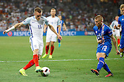 England Forward Jamie Vardy gets a shot away during the Round of 16 Euro 2016 match between England and Iceland at Stade de Nice, Nice, France on 27 June 2016. Photo by Andy Walter.