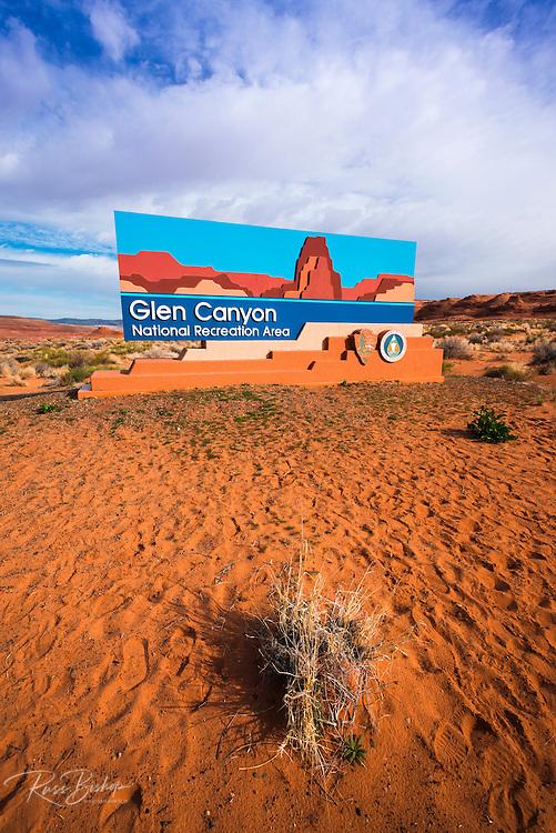 Glen Canyon National Recreation Area sign, Page, Arizona USA