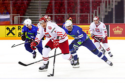 Aron Chmielewski of Poland vs Ziga Pavlin of Slovenia during Ice Hockey match between National Teams of Slovenia and Poland in Round #2 of 2018 IIHF Ice Hockey World Championship Division I Group A, on April 23, 2018 in Budapest, Hungary. Photo by David Balogh / Sportida