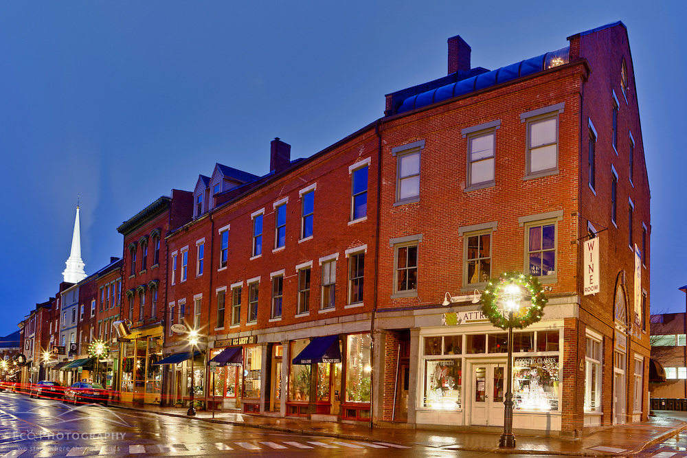 Market Street in Portsmouth, New Hampshire on a rainy morning. HDR
