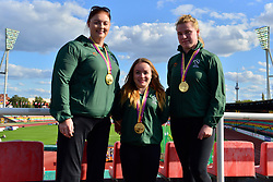 Paralympics Ireland Medalists.  From left:  Orla Barry, F57, IRE, Niamh McCarthy, F41, Noelle Lenihan, F38 at the Berlin 2018 World Para Athletics European Championships