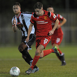 TELFORD COPYRIGHT MIKE SHERIDAN Niall Flint during the Cymru Premier fixture between Cefn Druids and Newtown AFC at the Rock on Friday, October 11, 2019<br /> <br /> Picture credit: Mike Sheridan/Ultrapress<br /> <br /> MS201920-024