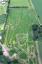 © Licensed to London News Pictures. 15/07/2016. York UK. This years York Maze has been launched today & farmer Tom Pearcy has dedicated this years design to author Roald Dahl to celebrate 100 years of Roald Dahl. The maze design which covers a 15 acre field is a montage of Roald Dahl characters including Willy Wonka, The BFG & The Fantasic Mister Fox. The  Photo credit: Andrew McCaren/LNP