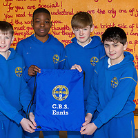 Ógie Fanning, Fuwhad Akinwale, John Cahill and Alex McNamara with the school string bag