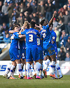 Gillingham players celebrate the third goal (scored by Gillingham midfielder Josh Wright) during the Sky Bet League 1 match between Gillingham and Crewe Alexandra at the MEMS Priestfield Stadium, Gillingham, England on 12 March 2016. Photo by David Charbit.