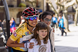 Race leader, Carmen Small poses for photos with fans - Emakumeen Bira 2016 Stage 2 - A 109 km road stage from Extarri Arantz to Urkiola, Spain on 15th April 2016.