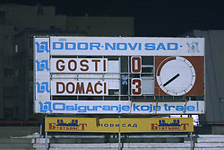 NOVI SAD, SERBIA -Tuesday, August 19th, 2003: The scoreboard shows Wales' 3-0 defeat by Serbia & Montenegro during the UEFA Under 21 European Championship Group 9 Qualifying match at the Karadorde Stadium. (Pic by David Rawcliffe/Propaganda)