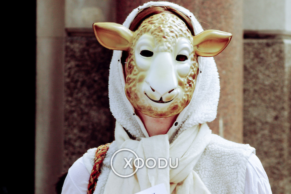 Sheep person protestor, London, England (June 2006)