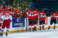 KAMLOOPS, CANADA - NOVEMBER 5:  Team WHL celebrates a first period goal against the Team Russia on November 5, 2018 at Sandman Centre in Kamloops, British Columbia, Canada.  (Photo by Marissa Baecker/Shoot the Breeze)