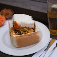 Chicken and prawn bunny chow at House of Curries on Florida Road in the Morningside neighborhood of Durban, South Africa.