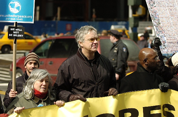NEW YORK - MARCH 18:  Actor Tim Robbins marches in an anti-war protest along the Avenue of Americas March 18, 2007 in New York City. Protests are taking place across the country ahead of the fourth anniversary of the March 20, 2003 invasion of Iraq.  (Photo by Michael Bocchieri/Bocchieri Archive)
