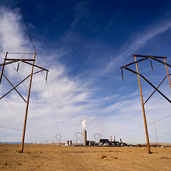 A maze of power lines lead to the Four Corners Power Plant in northwestern New Mexico.