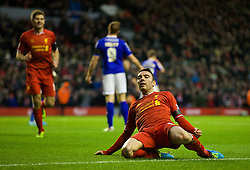 05.01.2014, Anfield, Liverpool, ENG, FA Cup, FC Liverpool vs FC Oldham Athletic, 3. Runde, im Bild Liverpool's Iago Aspas celebrates scoring the first goal against Oldham Athletic // during the English FA Cup 3rd round match between Liverpool FC and Oldham Athletic FC at the Anfield in Liverpool, Great Britain on 2014/01/05. EXPA Pictures © 2014, PhotoCredit: EXPA/ Propagandaphoto/ David Rawcliffe<br /> <br /> *****ATTENTION - OUT of ENG, GBR*****